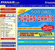 Captura del sitio web de Ryanair.