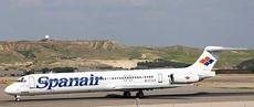 Imagen de un MD 82, de la compañía Spanair.