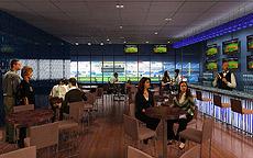 Lounge con pantallas para ver el partido.