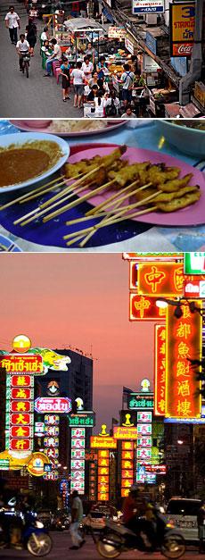Un soi de Sukhumvit. Un plato típico. Imagen de Chinatown.