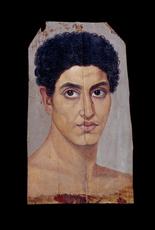 Retrato de momia de un joven. Hawara, Faiyum, Egipto.